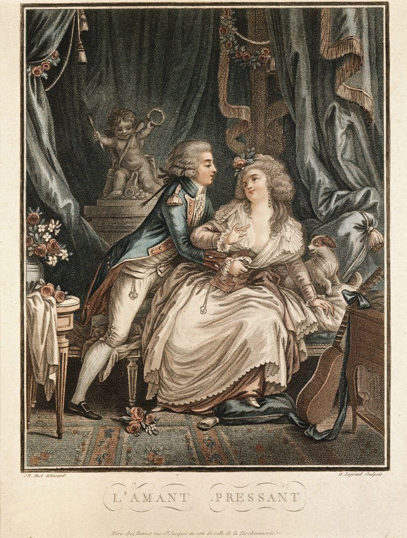 Augustin Claude Simon Legrand: Der zudringliche Liebhaber (um 1780). © bpk / Staatliche Museen zu Berlin, Kunstbibliothek; Foto: Knud Petersen