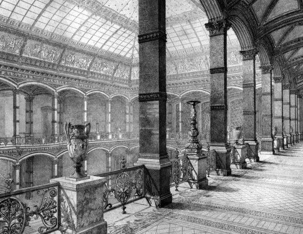 Der Lichthof des Kunstgewerbemuseums im Martin-Gropius-Bau, Lorenz Ritter, 1881, Radierung © Staatliche Museen zu Berlin, Kunstgewerbemuseum