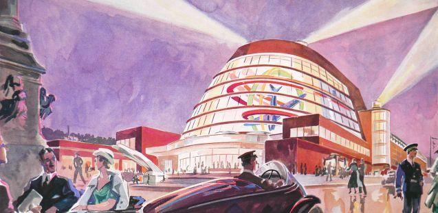 Geo Ham, Impression des Pavillons der Luftfahrt, Aquarell in L'Illustration, Sonderausgabe August 1937