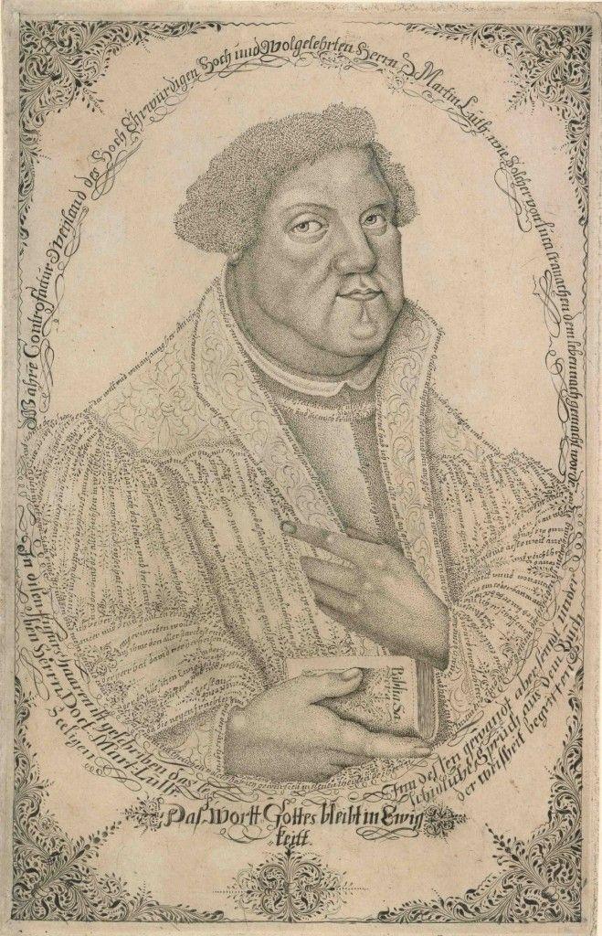 Johann Michael Püchler: Martin Luther, Mikrographie, Radierung © Staatliche Museen zu Berlin, Kupferstichkabinett