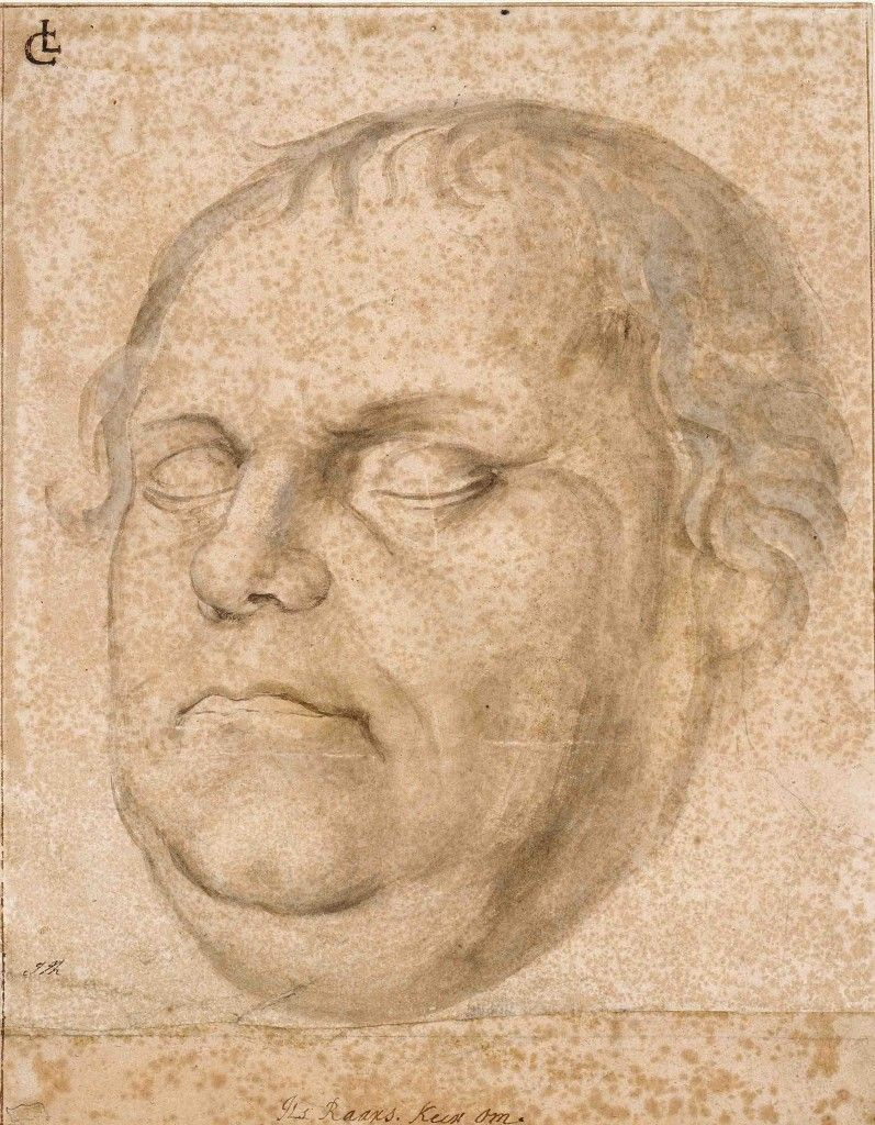 Lucas Furtenagel: Kopf des toten Martin Luther, um 1546, Pinsel in Braun, weiß gehöht © Staatliche Museen zu Berlin, Kupferstichkabinett / Volker-H. Schneider