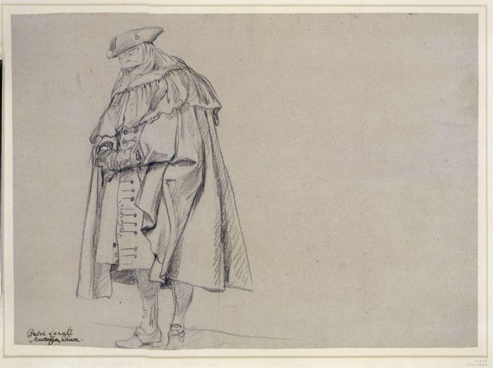 Pietro Longhi - Venezianischer Herr mit Dreispitz und Maske © bpk / Staatliche Museen zu Berlin, Kupferstichkabinett / Jörg P. Anders