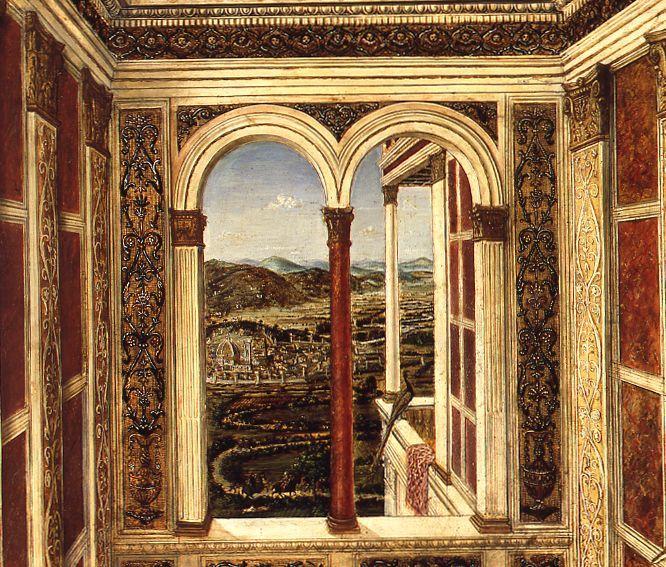 Detail: Die Stadtansicht Folrenz © Staatliche Museen zu Berlin, Gemäldegalerie