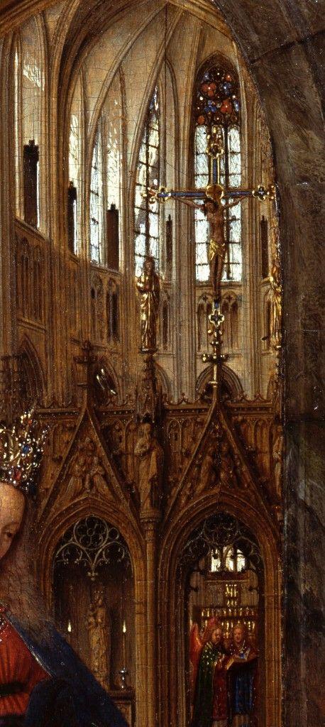 Detail: Das Kuruzifix in der oberen rechten Ecke und die Marienskulptur in der unteren linken Ecke © Staatliche Museen zu Berlin