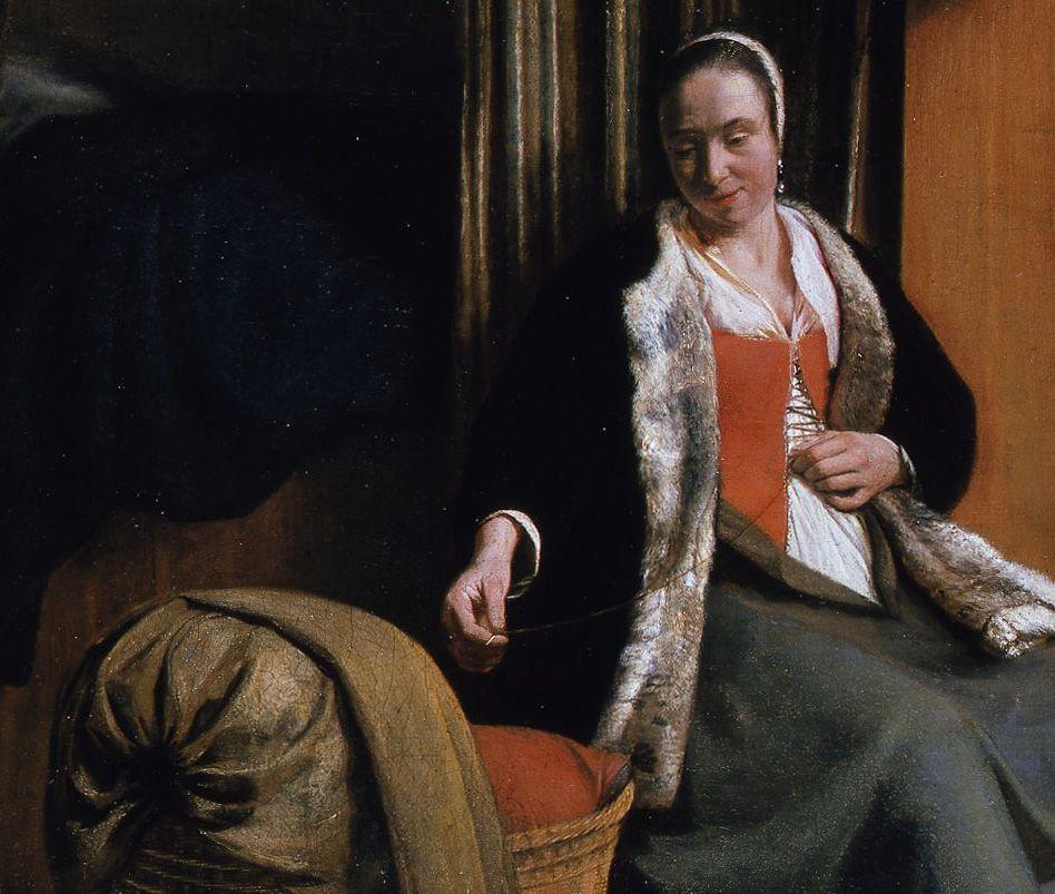 Detail: Die Mutter schließt ihr Mieder © Staatliche Museen zu Berlin, Gemäldegalerie