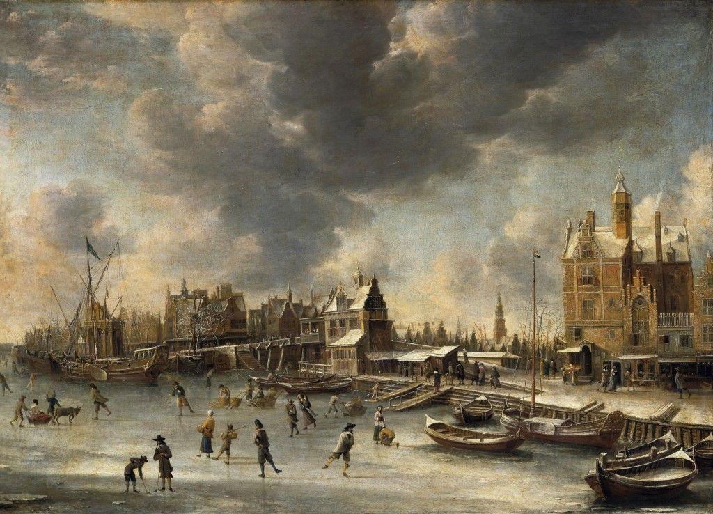 Johannes Beerstraaten: Schlittschuhläufer auf dem Y vor dem Paalhuis in Amsterdam (um 1660); © Staatliche Museen zu Berlin, Gemäldegalerie / Jörg P. Anders