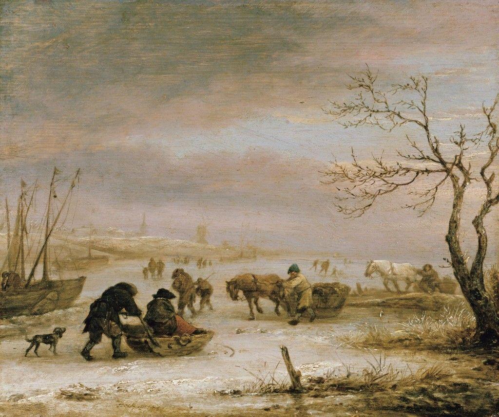 Isaac van Ostade: Eislandschaft mit Schlitten und eingefrorenen Schiffen (um 1645); © Staatliche Museen zu Berlin, Gemäldegalerie / Jörg P. Anders