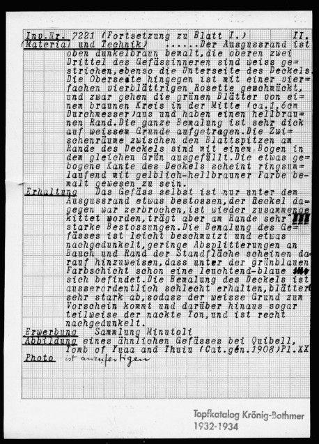 """Abb. 4 + 5  """"Topfkatalog Krönig-Bothmer 1932–34"""" mit Zeichnung des Gefäßes ÄM 7221 (im Zweiten Weltkrieg nach Schloss Sophienhof ausgelagert, gilt als vermisst).  © Staatliche Museen zu Berlin – PK, Ägyptisches Museum und Papyrussammlung, Dokumentenarchiv"""
