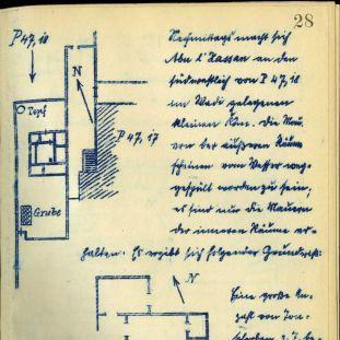 Abb. 2: Grabungs-Tagebuch der D.O.G.-Kampagne in Tell el-Amarna, 1913/14, S. 28: Grundriss und Erläuterung des Hauses P 47,18 © Staatliche Museen zu Berlin – PK, Ägyptisches Museum und Papyrussammlung, Dokumentenarchiv