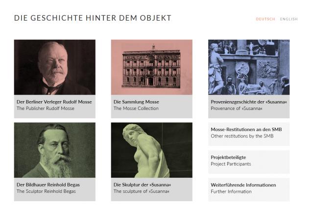 Screenshot aus der neuen Medienstation zur Geschichte der Sammlung Mosse in der Alten Nationalgalerie.