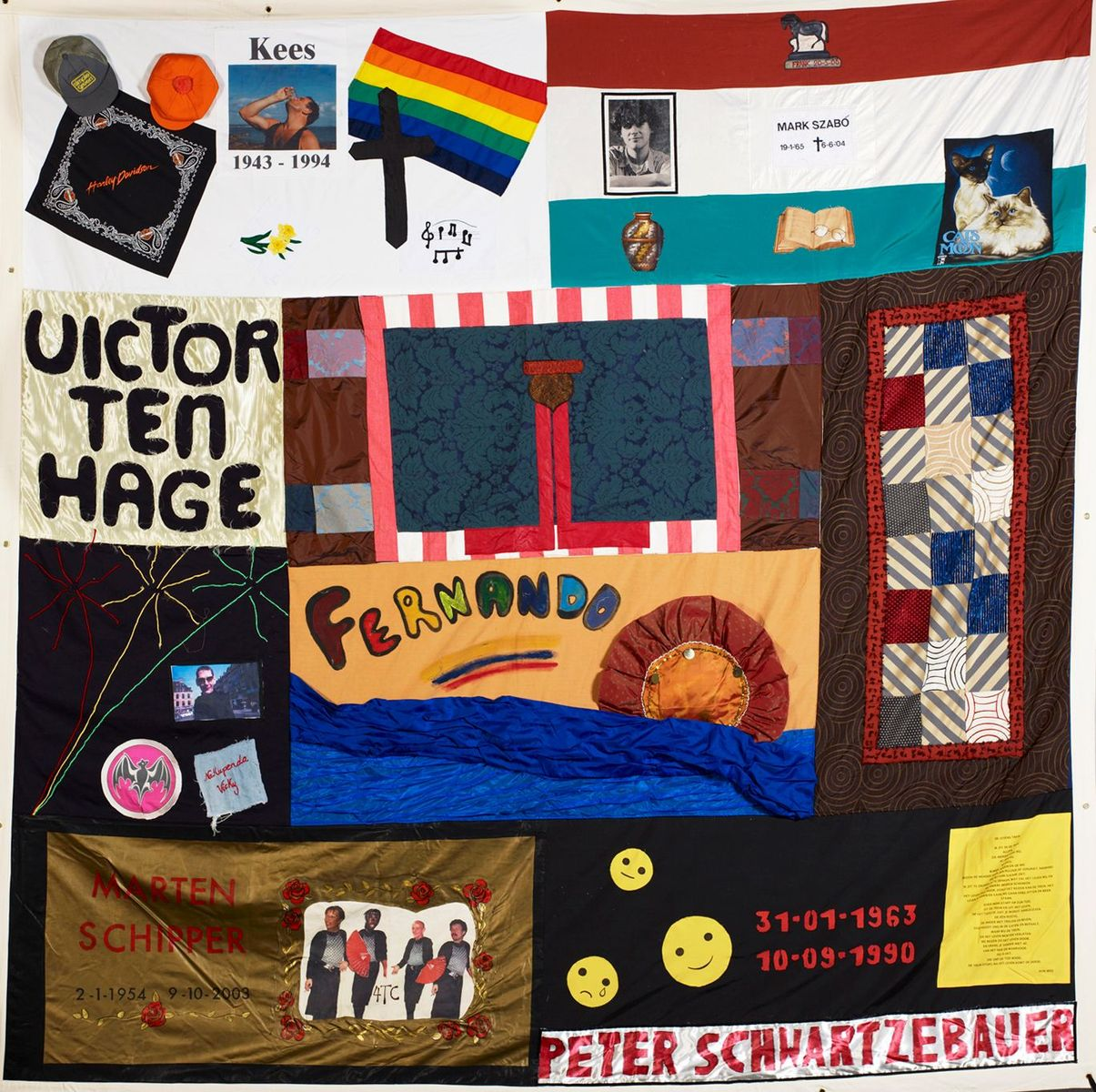 Aids Memorial Quilt, Block 22, Amsterdam, Niederlande, 1988 – 2008 © Staatliche Museen zu Berlin, Museum Europäischer Kulturen