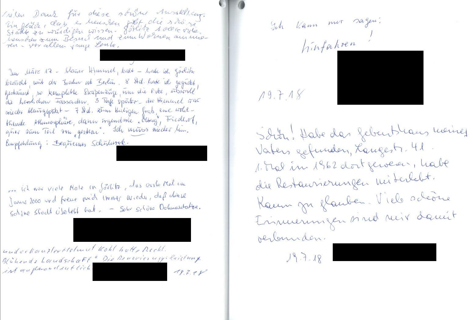 Einträge aus dem Gästebuch der Ausstellung