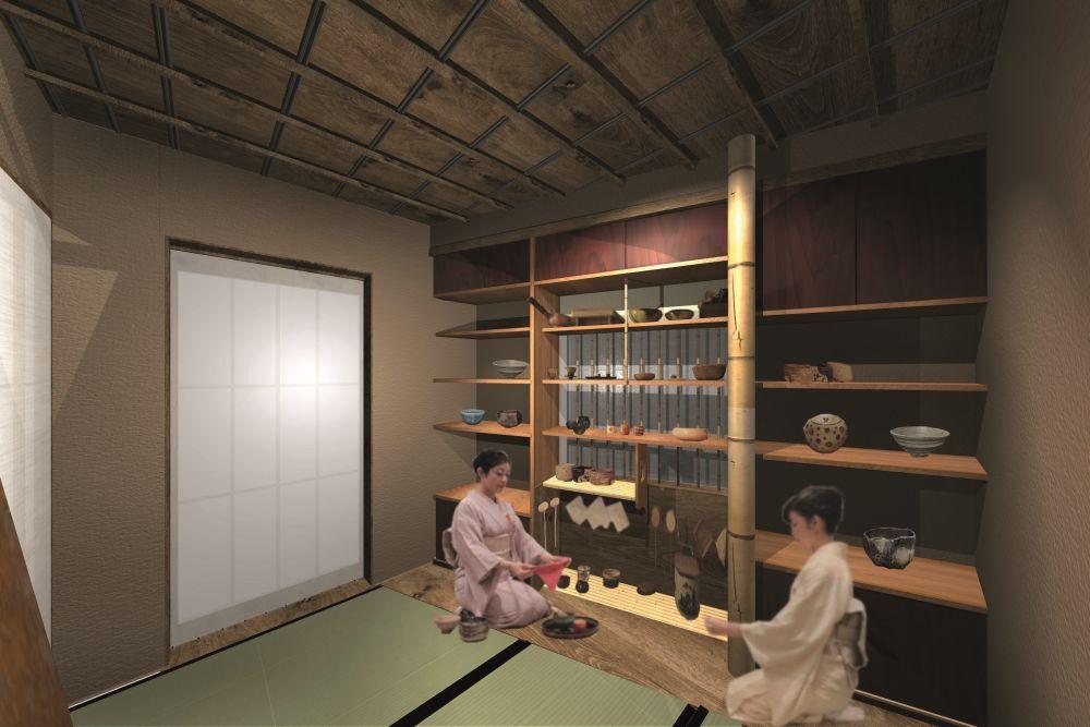 Teehaus im Humboldt Forum, Bereich Asien im Ausstellungsmodul zu japanischer Kunst (Rendering). © SHF / URA Architects & Engineers