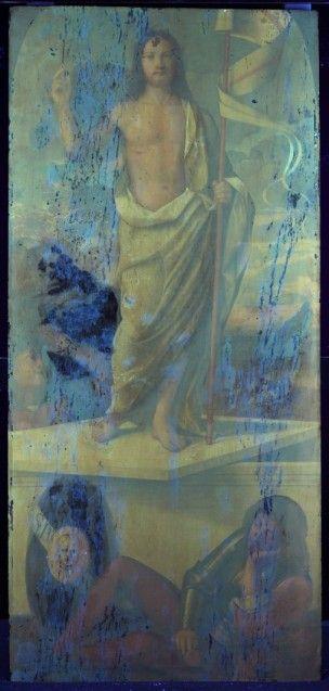 Francesco Bissolo: Die Auferstehung Christi, UV Aufnahme  2017 © Staatliche Museen zu Berlin, Gemäldegalerie / Foto: C. Schmidt