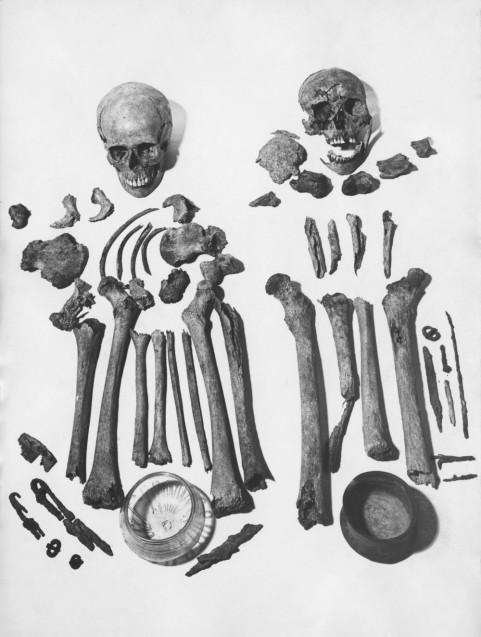 Die geborgenen Skelettteile und Grabbeigaben aus Britz. © Staatliche Museen zu Berlin, Museum für Vor- und Frühgeschichte.