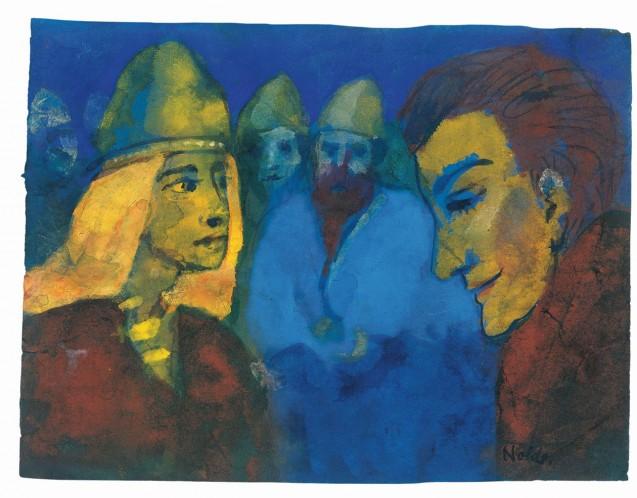 Emil Nolde Herrin und Fremdling, o. D. (wahrscheinlich Vorlage für das Gemälde Nordische Menschen, 1938) Aquarell, 17,1 × 22,5 cm Nolde Stiftung Seebüll © Nolde Stiftung Seebüll Foto: Dirk Dunkelberg, Berlin